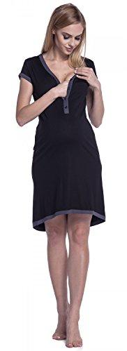 Happy Mama. Damen Umstands-Nachthemd mit Stillfunktion. Stillshirt Kurzarm. 981p Schwarz & Graphit