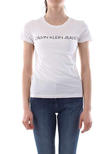 Calvin Klein Jeans Damen Core Institutional Logo Slim Fit Tee T-Shirt, Weiß (Bright White 112), Medium (Herstellergröße: M) -