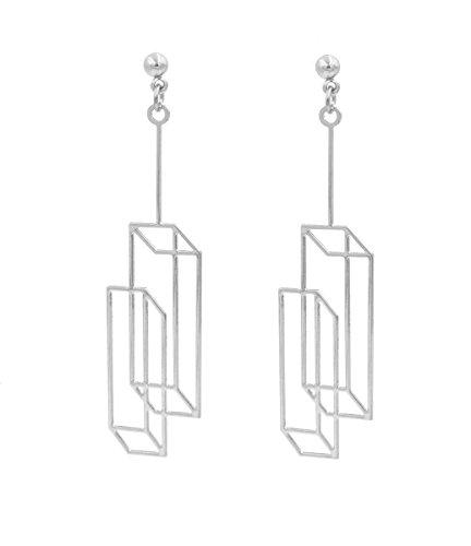 Versilbert Optische Illusion 3D-Effekt Box Duo Rahmen Ohrringe–quader miteinander verknüpft Cubes–Pretty, Fun und lustigen Geometrische Schmuck–in Organza-Beutel.