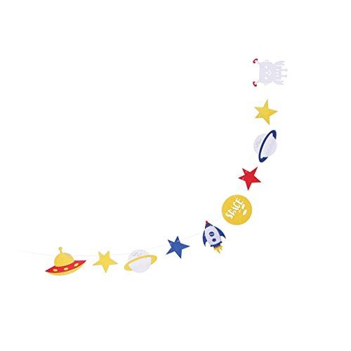 (Homyl Burlap/Filz Flaggen Wimpel Girlande Wimpelkette Deko für Baby Shower Luau Party Hochzeit Geburtstag - Filz Weltraum, 3 Meter)