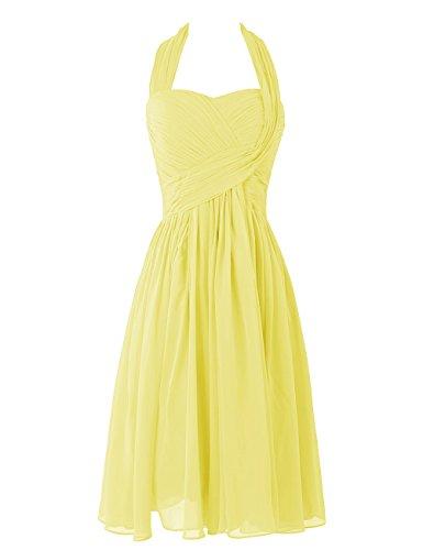 Dresstells, A-ligne robe mousseline de demoiselle d'honneur robe de soirée de cocktail longueur au genou Jaune