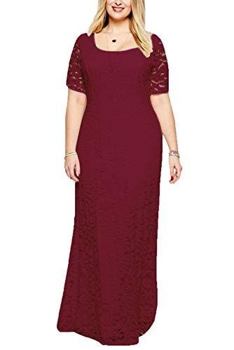 Suimiki Damen Oversize Dress Spitze Long Party Kleid Brautkleid Cocktailkleid Kurzarm-RE2XL