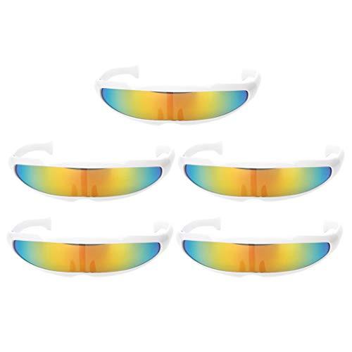 Baoblaze 5er Set Futuristische Brille Sonnenbrille Lustige Partbrille Spaßbrille Cosplay Kostüm Zubehör (Futuristische Kostüm Kinder)