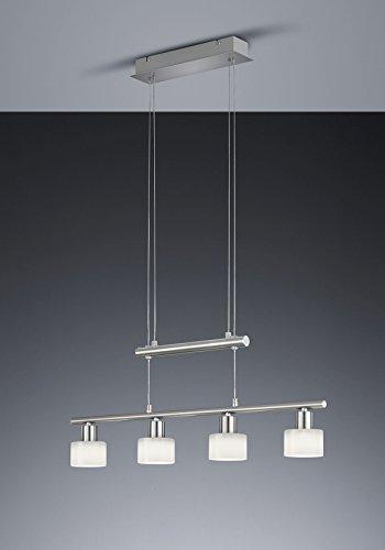 Khl LED Pendelleuchte 4x4W hell höhenverstellbar 95 - 170 cm New York 3000k 74cm nickel matt / Glas weiß 18 Watt