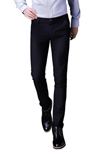 Harrms Herren Anzughose Slim fit Straight Leg Business Hose Pants Kariert Festlich,065pants-Schwarz - 34