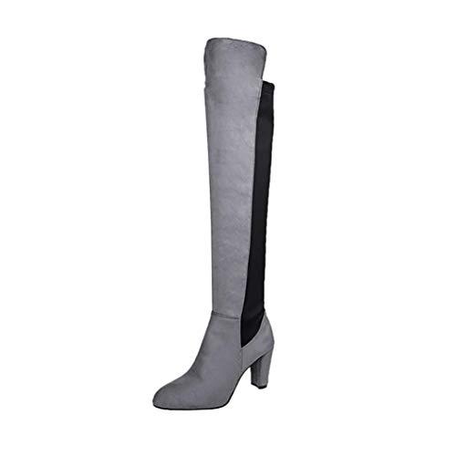 UFACE Damen Punkt Damen Stiefel Scrub Leder Starke Ferse Stiefel Stiefel Schuhe(Grau,41 EU)