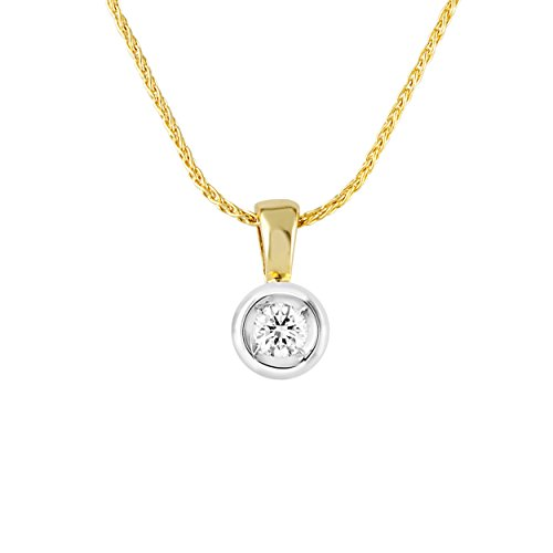 Diamond Line Damen - Halskette 585er Gold 1 Diamant ca. 0,10 ct, gelbgold