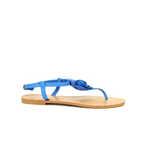Cendriyon, Tongs Bleues royal Rosa FDM Chaussures Femme Bleu