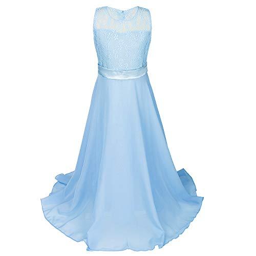 Günstige Blumen-mädchen-kleider (discoball Mädchen Chiffon Blumen Bodenlang Kleid Himmelblau, ca.12-14 Jahre)