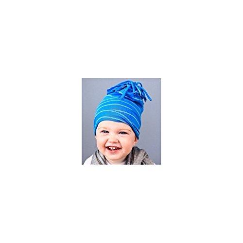 Bonnet garçon en coton fin modèle pompon bleu