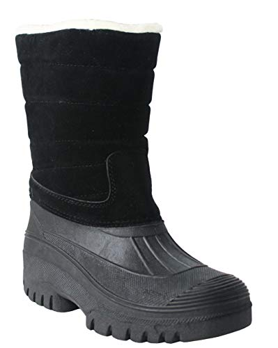 Womens Ladies Thermal Fleece Lined Zip Up Winter Snow Rain Water Resistant Mid Calf Mucker Boots