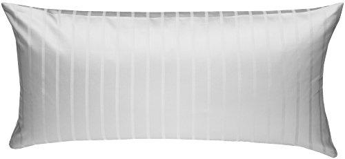 Damast Kissenbezug (Bettwaesche-mit-Stil Mako Satin Damast Streifen Bettwäsche Garnitur Lima gestreift mit Reißverschluss (Weiß, 40 x 80 Kissenbezug))