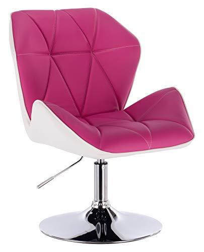 1stuff® Designer Drehstuhl Salonstuhl URBAN -höhenverstellbar -Schminkstuhl Kosmetikstuhl Clubsessel Esszimmerstuhl Cocktailsessel (Bezug pink - Akzentfarbe weiß - Fuß Chrom)