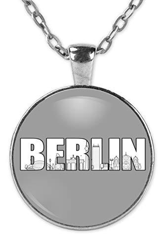Hipster Lounge Berlin - Skyline Silhouette Hauptstadt - Kette und Anhänger -OneSize-Silber