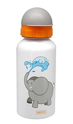 NERTHUS FIH 266 - Botellín de agua infantil a prueba de fugas, bote de agua para niños, con dibujo de elefante, 400 ml