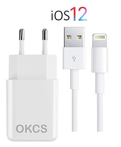 OKCS Ladegerät - USB Ladekabel 1M + 2A Netzteil kompatibel für iPhone XS, XR, XR Max, X, 8, 8 Plus, 7, 7 Plus etc. - Farbe Weiß -