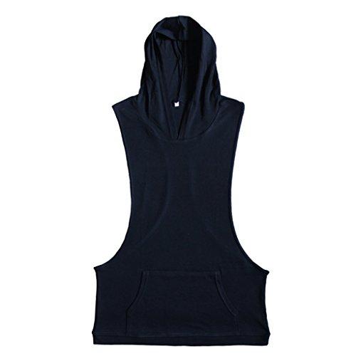 Prettyia Uomo Canotta Gilet Top T-shirt Con Cappuccio Palestra Sportivo Fitness Abbigliamento Nero