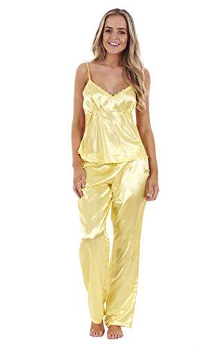 3-teiliger-satin-schlafanzug-fur-damen-frauen-top-spitze-shorts-schlafanzug-nachtwasche-zitronengelb