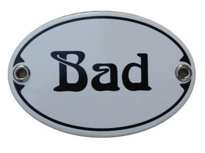 Türschild Bad Emaille Schild Jugendstil 7 x 10,5 cm Emailschild weiß (ohne Holzrahmen)