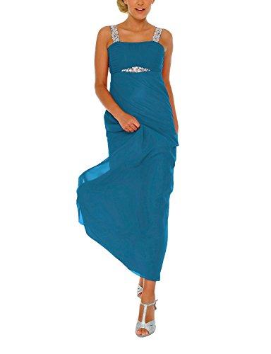 Astrapahl Damen Cocktail Kleid mit Pailletten, Maxi, Einfarbig, Gr. 46, Türkis
