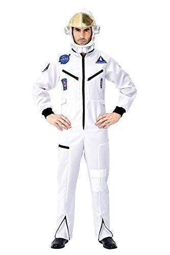 Herren Astronaut Kostüm Raumfahrer Anzug Halloween Kostüme für Erwachsene Lustige Cosplay Party Bühnen Auftritt Weiß XL (Comic Con Kostüm Lustig)