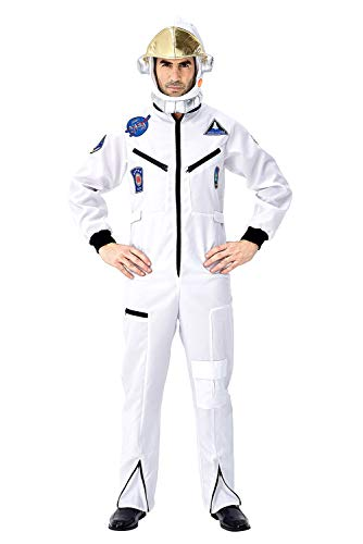 Tollstore Herren Astronaut Kostüm Weltraum Raumfahrer Astronauten-Anzug Spaceman Overall Outfit Weiß XL (Weiß Astronaut Kostüm Für Erwachsene)