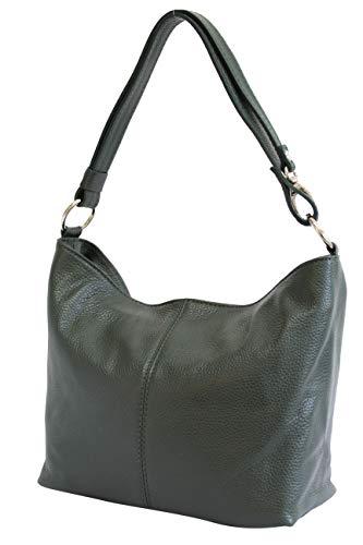 AMBRA Moda Damen Leder Handtasche Schultertasche Umhängetasche Hobo bag GL005 (Dunkelgrün)