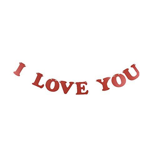 I love you Banner für Hochzeit Vorschlag Verlobungsring Valentinstag Party, ich liebe sie Wimpelkette Buchstaben Girlande Dekorationen (Wie Kaufen Sie Einen Verlobungsring)