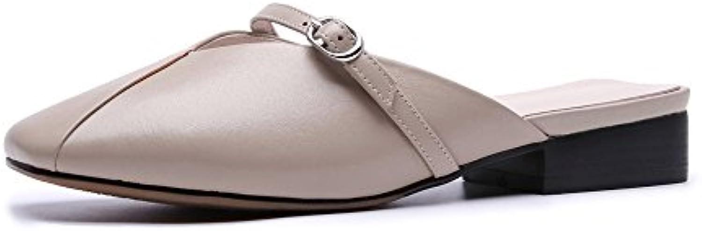 FangYOU1314 Casual Cabeza Cuadrada con Fondo Plano Perezosos Zapatillas (Color : Caqui, tamaño : 36 EU)