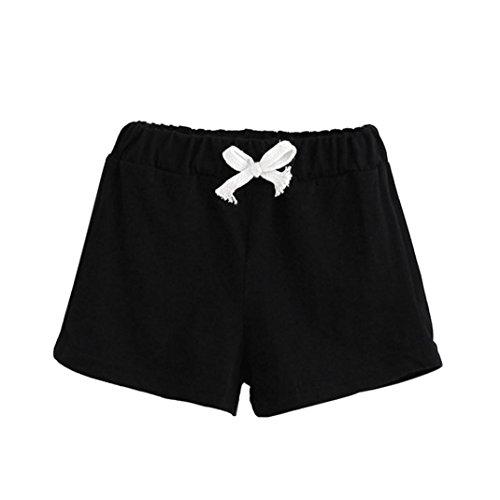 Gusspower Verano Niños Pantalones Cortos de Algodón Niños y Niñas Ropa de Moda Bebé Pantalones Cortos (Negro, 100)