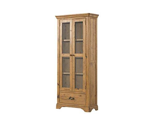 Eiche Französisch Türen (Französische Eiche hoch–Eiche rustikal Vitrine Schrank mit 2Türen und 1Schublade–Pflanzenschild aus massivem Eichenholz–Esszimmer–Wohnzimmer Möbel)