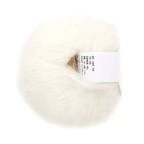 Morbido mohair cashmere lana per maglieria filato leggero maglieria a mano filato fai da te scialle sciarpa uncinetto filo con un crochet(bianca)