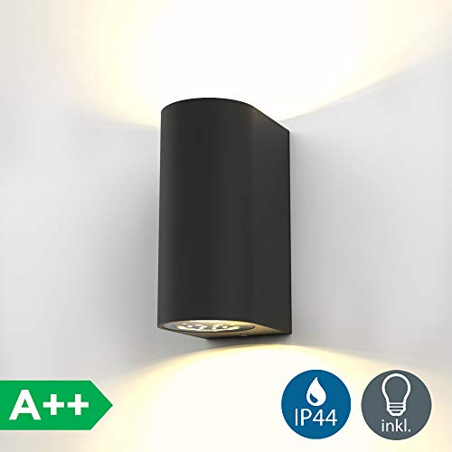 Aplique pared negro para exterior y interior 2x5W