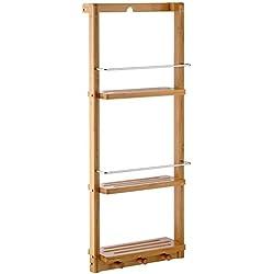 Estantería para ducha con tres niveles, bambú