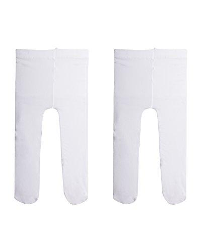 2 paia - calzamaglia per neonata | collant primi passi | calze bimbi | 40 den | bianco, rosa | calzetteria italiana | (6 mesi, 2 paia - bianco)
