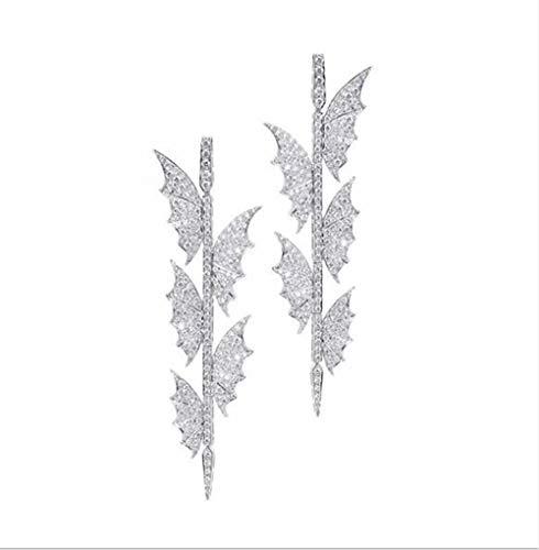 HXLSSZB Ohrringe für Damen 925 Silber Nadel Stereo Zirkon Butterfly Ohrstecker,001 - 001 Stereo