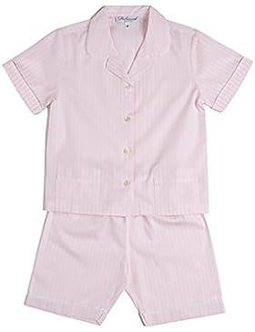 [Sponsorizzato]Modello 1, pigiama Siebaneck corto bambina/ragazza ( da 2 a 16 anni ), 100%pregiato cotone a navetta rigato rosa