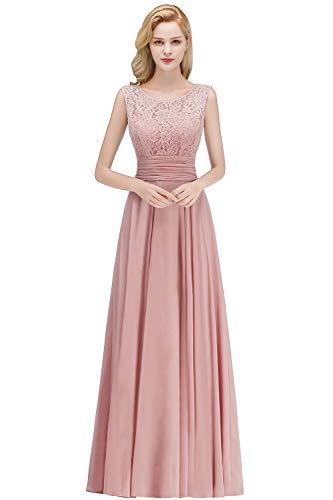 Babyonlinedress® Damen Kleider Langes Festliches A Linie Brautjungfernkleid Tüll Abendkleid Cocktailkleid Faltenrock Altrosa 36