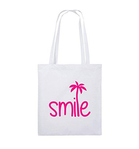 Comedy Bags - smile - PALME - Jutebeutel - lange Henkel - 38x42cm - Farbe: Schwarz / Pink Weiss / Pink
