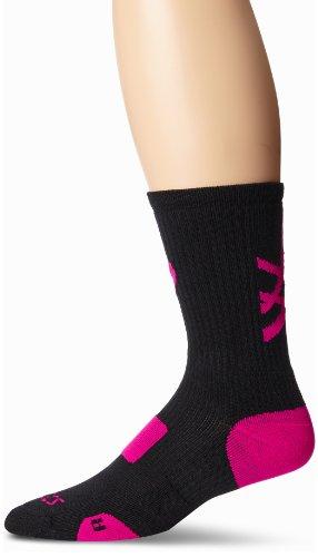 ASICS Damen Stripe Crew Socken, Black/Pink Glow, Small Pink Tiger Stripe