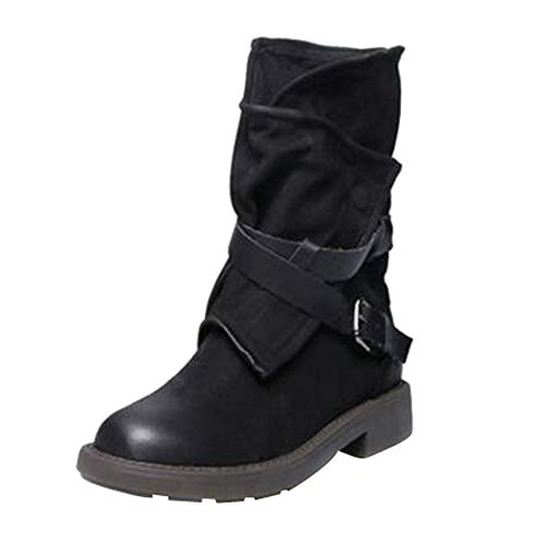 Stiefeletten Damen,Damen Mittel Militär Boots Schnalle Kunstleder Patchwork Stiefel,❤️Binggong Damen Stiefeletten