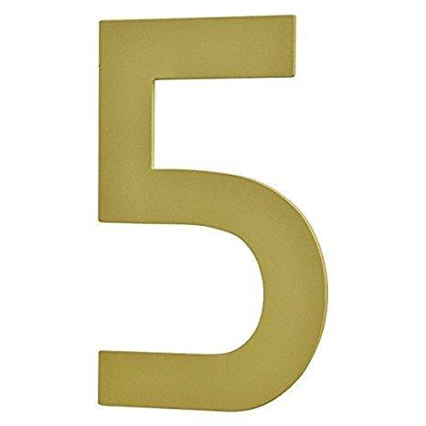 nanook Edelstahl Hausnummer 5 Modell 'Bauhaus' - selbstklebend - Farbe: Messing / Gold - 10 cm - Nr....