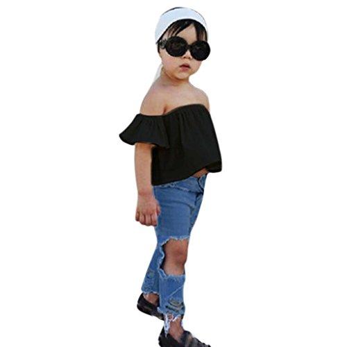 Babykleidung Mädchen Off Schulter Crop Tops + Loch Jeans Hose Kinderbekleidung Blumen Drucken Kleider Set Kinder Kleidung Sommer Outfits (0-7T) LMMVP (Schwarz, 110CM ()