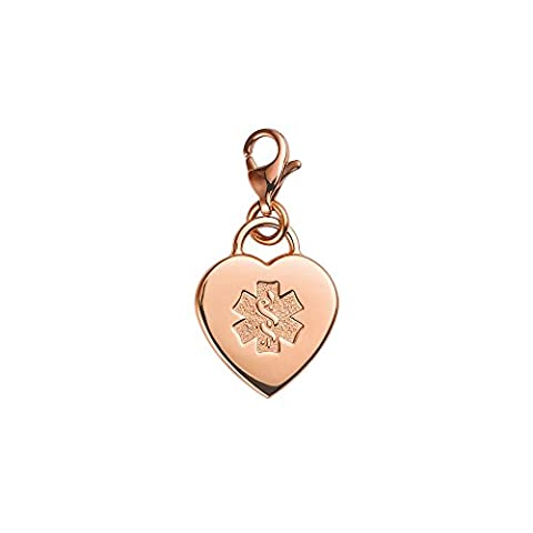 Divoti Custom Engraved Adorable Heart PVD 316L Medical Alert Charm w/ Lobster Clasp-Rose Gold