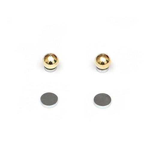Idin - orecchini in acciaio chirurgico color oro, con chiusura a calamita, per lobi senza buco (4 mm)