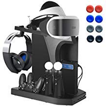 Playstation Vertical Stand - ElecGear PS4 Ladestation, Kühlventilator, PSVR Headset-Aufbewahrungshalter, Ladestation für DualShock & PS VR Move Motion Controller, 4-Port USB-Hub für PS4, Slim, Pro -