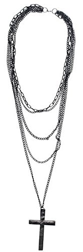 Multi-Layered Chain Necklace with Crucifix. Low price for fancy dress