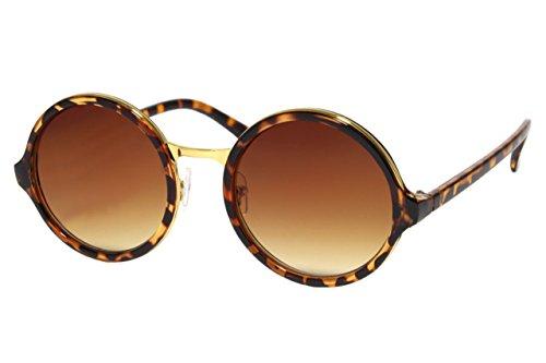 Cheapass Sonnenbrille Runde Gläser Braun Leopard Animal Print Retro Damen (Print-damen-sonnenbrillen)