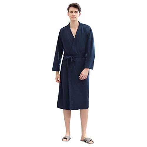 SatinGold Winter Knielänge Solide Bademantel Morgenmantel Hausmantel Mantel Kimono Klassische Herbst Robe Nightwear Morgenmantel mit Tasche zum Frauen Männer Paar (L, Marine (Männer))