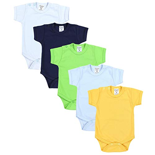 TupTam Jungen Baby Body Kurzarm in Unifarben - 5er Pack, Farbe: Farbenmix 1, Größe: 104